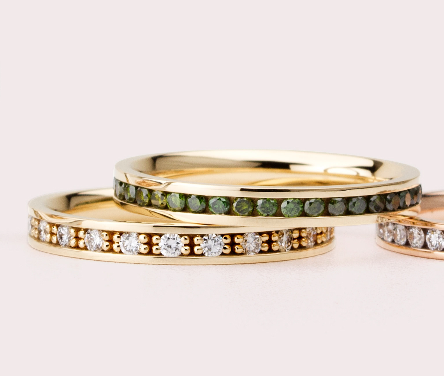 Insignety-eternity-collection-white-gold-white-diamond-green-diamond-prongs-rings