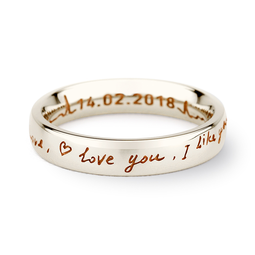14K White Gold Love You Handwriting Ring
